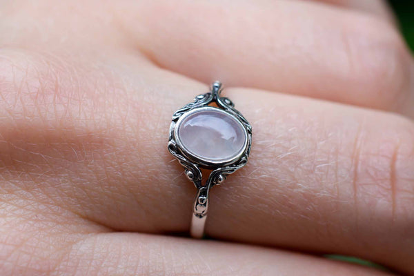 925 Silver Small Decorated Oval Rose Quartz Ring