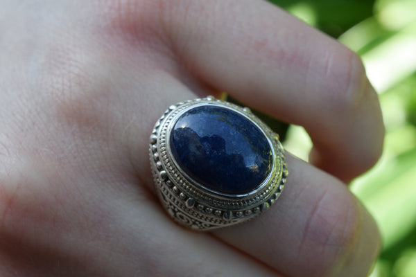 925 Silver Decorated Oval Sapphire Mughal-Style Large Ring