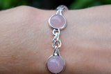 925 Silver Intertwined Rose Quartz Circular Bracelet
