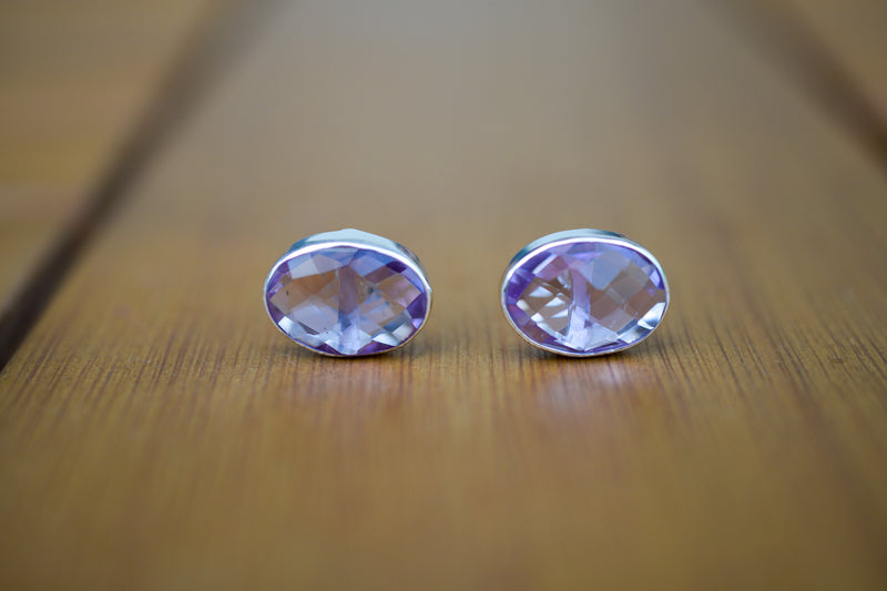 925 Silver Large Stud Amethyst Earrings