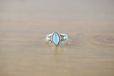 925 Silver Diamond-Shaped Decorated Aqua Agate Ring