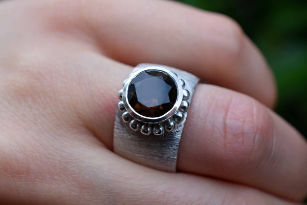 925 Silver Decorated Smoky Quartz Ring
