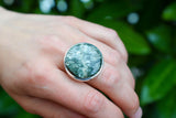 925 Silver Large Circular Seraphinite Ring