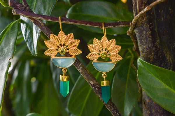 925 Silver Gold-Plated Aqua and Green Agate and Peridot Flower Earrings