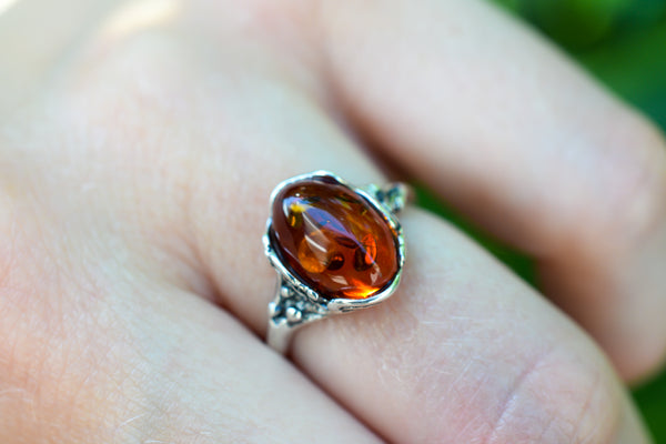 925 Silver Cognac Amber Decorated Ring