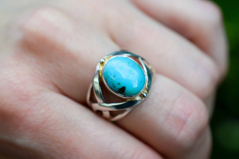 925 Silver Intertwined Oval Turquoise Ring