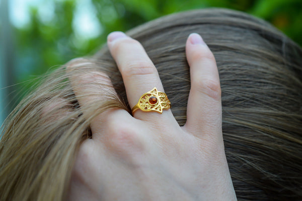 925 Gold-Plated Silver Hamsa Amber Ring