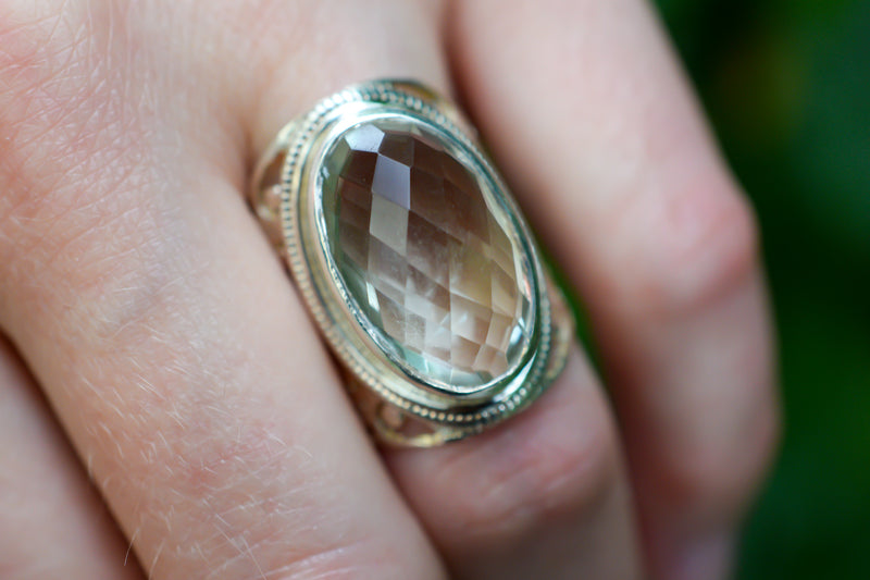 925 Silver Filigram Quartz Ring