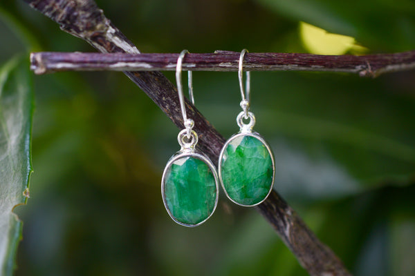 925 Silver Large Dangling Emerald Earrings