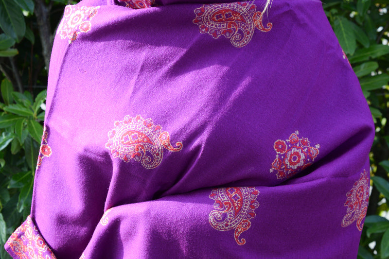 Large Wool Decorated Purple and Red Paisley Shawl