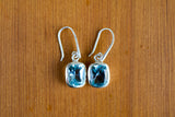 925 Silver Large Square Dangling Blue Topaz Earrings