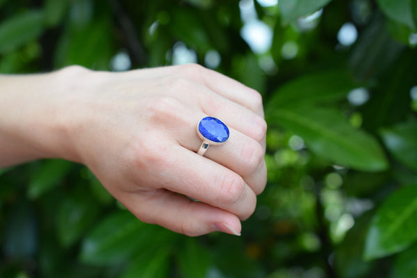 925 Silver Small Oval Sapphire Ring