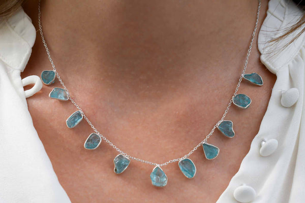 925 Silver Aquamarine Necklace