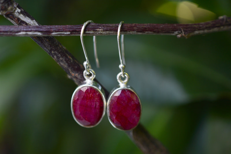 925 Silver Large Dangling Ruby Earrings
