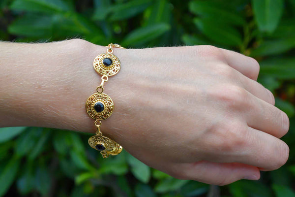 925 Silver Gold-Plated Black Onyx Ethnic Bracelet