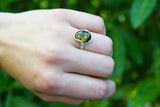 925 Silver Green Amber Oval Wrap Ring