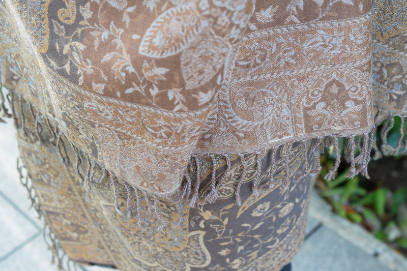 Large Wool Paisley and Leaf Decorated Shawl