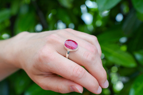 925 Silver Small Oval Ruby Ring