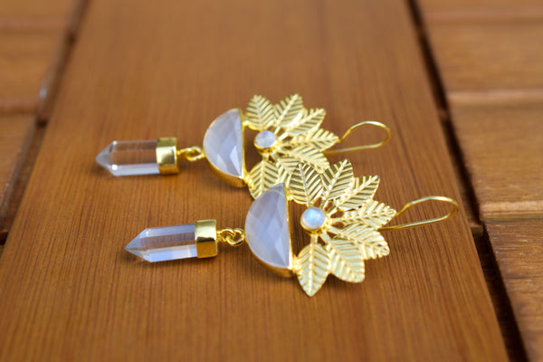 925 Silver Gold-Plated Grey Moonstone, Rock Crystal and Rainbow Moonstone Flower Earrings
