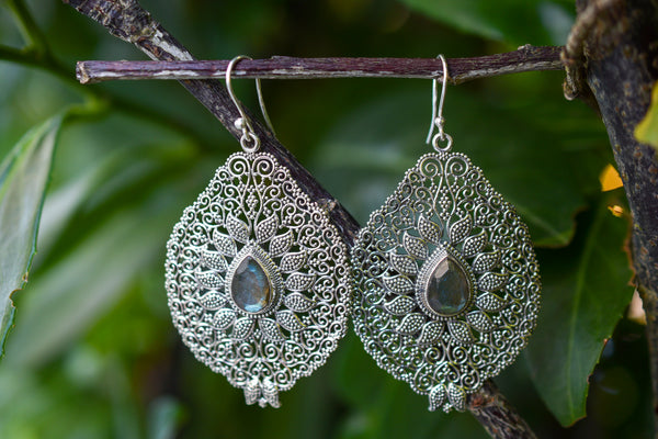 925 Silver Filigram Labradorite Earrings