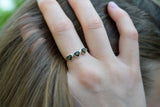 925 Silver Green Amber Trio-Heart Ring