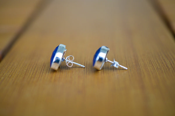 925 Silver Large Stud Sapphire Earrings