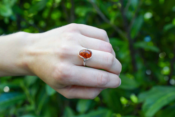 925 Silver Cognac Amber Oval Wrap Ring