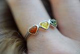 925 Silver Multi-Coloured Amber Trio-Heart Ring