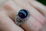 925 Silver Small Decorated Circular Amethyst Ring