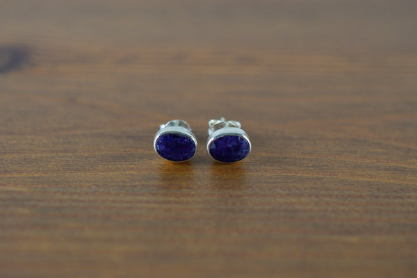 925 Silver Small Stud Sapphire Earrings