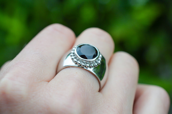 925 Silver Heavy Decorated Smoky Quartz Circular Ring