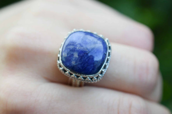925 Silver Decorated Square Sapphire Mughal-Style Ring