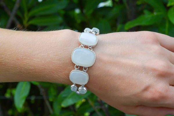 925 Silver Rectangle Moonstone Bracelet