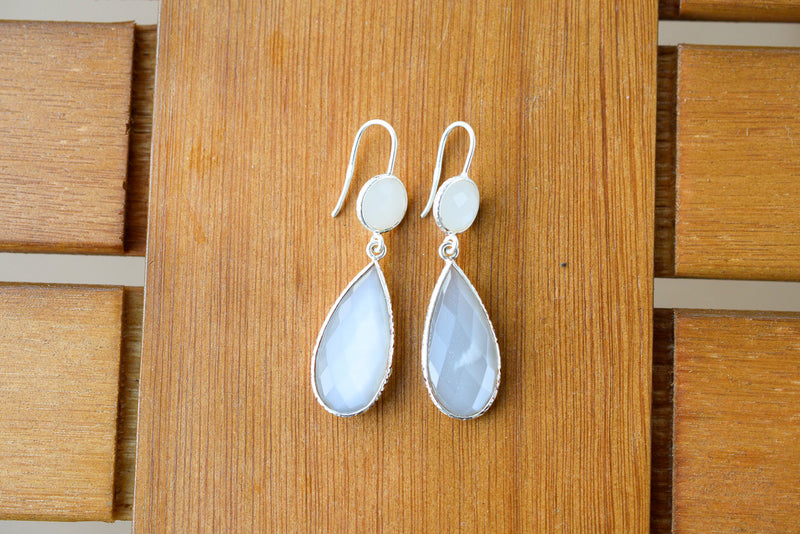 925 Silver Rock Crystal and Nacre Drop and Round Shaped Earrings