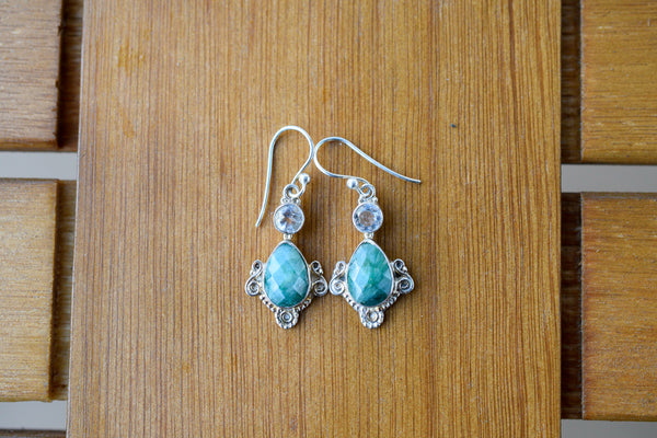 925 Silver Drop-Shaped Emerald and Rock Crystal Earrings