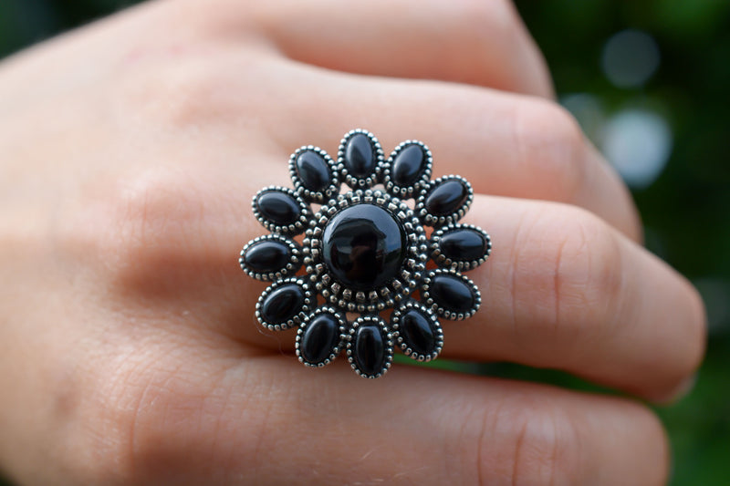 925 Silver Black Onyx Flower Ring