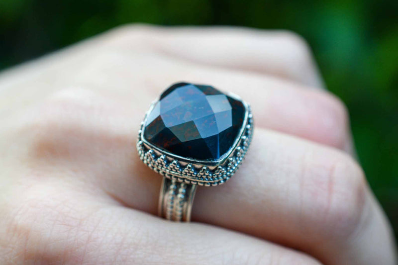925 Silver Decorated Square Facetted Bloodstone Mughal-Style Ring