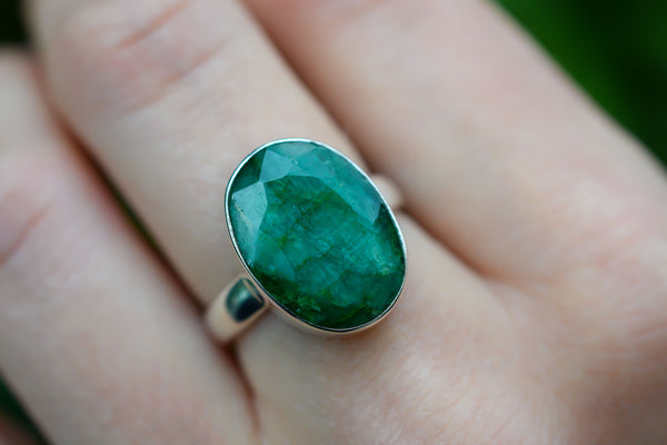 925 Silver Small Oval Emerald Ring