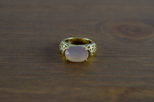 925 Gold-Plated Silver Large Pink Agate Faceted Claw Ring