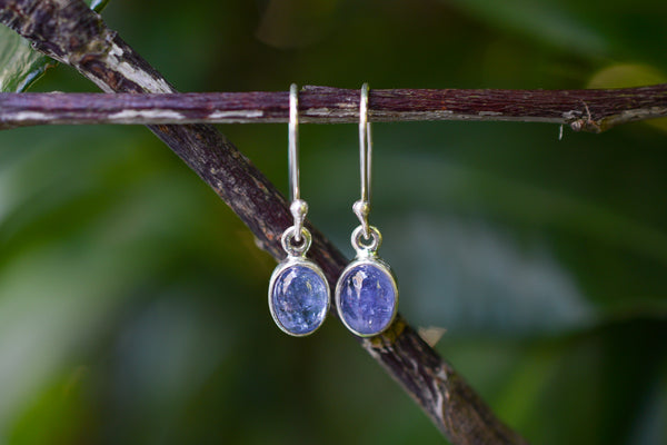 925 Silver Small Oval Dangling Tanzanite Earrings
