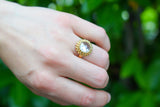 925 Gold-Plated Silver Circular Zirconia Ring