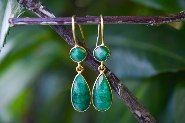 925 Silver Gold-Plated Drop and Circular Faceted Emerald Earrings