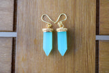 925 Gold-Plated Silver Light Blue Agate Crystal-Shaped Earrings
