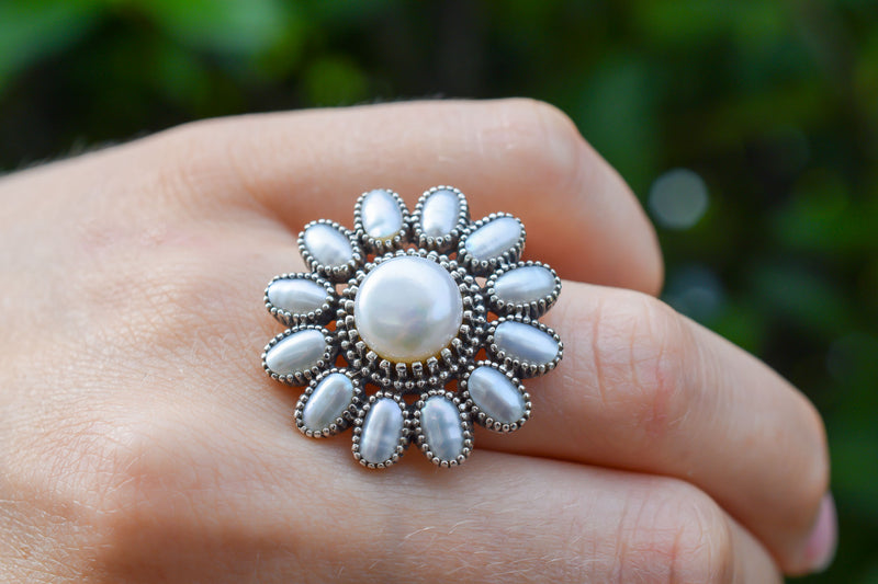 925 Silver Pearl Flower Ring