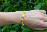 925 Silver Gold-Plated Single Band Pink Opal Bracelet