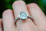 925 Silver Small Circular Rock Crystal Ring
