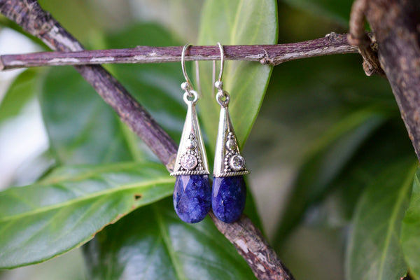 925 Silver Faceted Sapphire and Rock Crystal Earrings