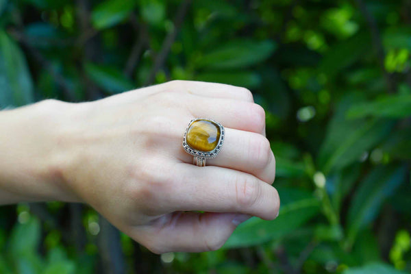925 Silver Decorated Square Tiger's Eye Mughal-Style Ring