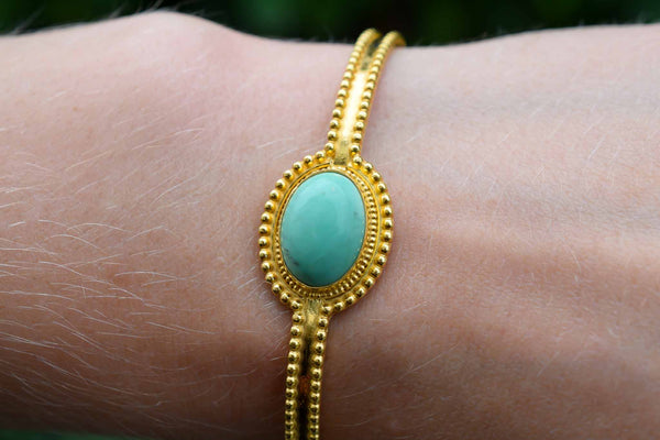 925 Silver Gold-Plated Turquoise Bracelet