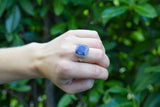 925 Silver Decorated Square Facetted Sapphire Mughal-Style Ring